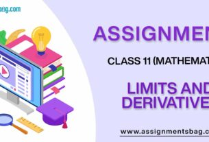 Assignments For Class 11 Mathematics Limits And Derivatives