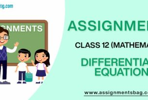 Assignments For Class 12 Mathematics Differentials Equation