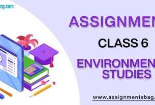 Assignments For Class 6 Environmental Studies