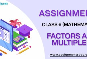 Assignments For Class 6 Mathematics Factors And Multiples