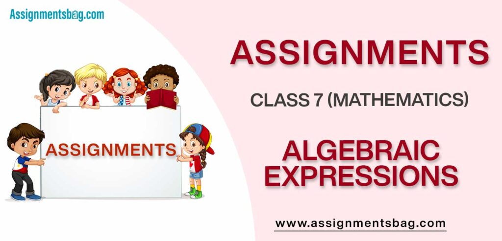 Assignments For Class 7 Mathematics Algebraic Expressions