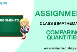 Assignments For Class 8 Mathematics Comparing Quantities