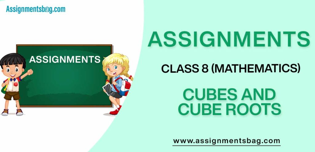 Assignments For Class 8 Mathematics Cubes And Cube Roots